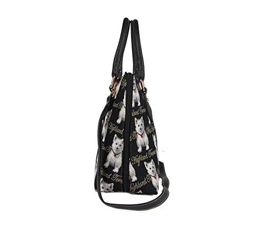 Bolso convertible de moda Signare para mujer en tela de tapiz bolso de hombro westie