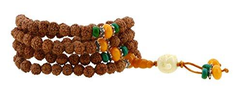 Elastic String Natural Tibetan Rudraksha Seed Prayer Beads Wrist Mala Wrap Bracelet