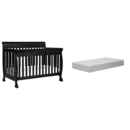 Sleigh Black Crib - Kalani 4-In-1 Convertible Crib with Complete Toddler Mattress with Hypoallergenic Waterproof Cover