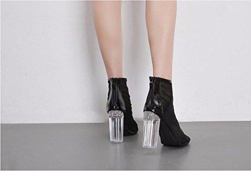bocca 11cm mesh crystal volgare fighi 36 sandali black scarpe stivali di scarpe GTVERNH i trasparenti pesce con pqdYpwS