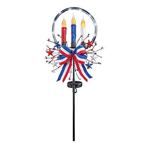 Collections Etc Solar Patriotic Flickering Candles Yard Stake - Festive Fourth of July or Memorial Day Decorative Accent