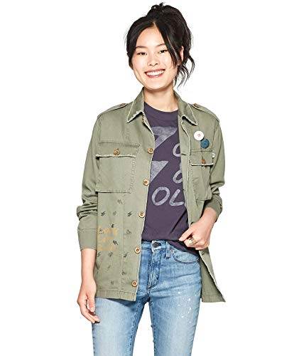 - Rock By Junk Food Women's David Bowie I'm with The Band Military Style Jacket (Medium, Olive Green)