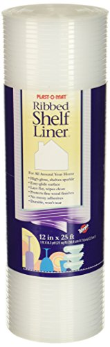 (Plast-O-Mat Ribbed Shelf Liner, Clear, 12
