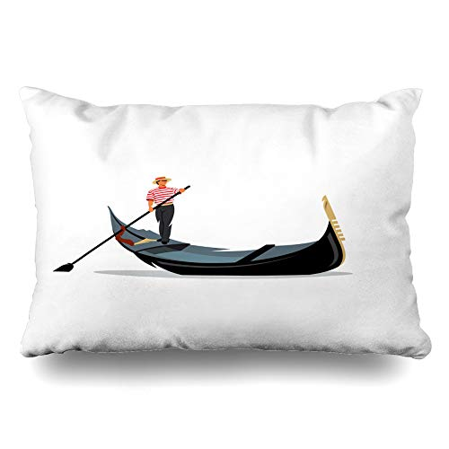 Ahawoso Throw Pillow Cover Queen 20x30 Logotype Italy Venice Gondola Gondolier Rowing City Oar Italian Boat White Travel Love River Cushion Case Home Decor Pillowcase