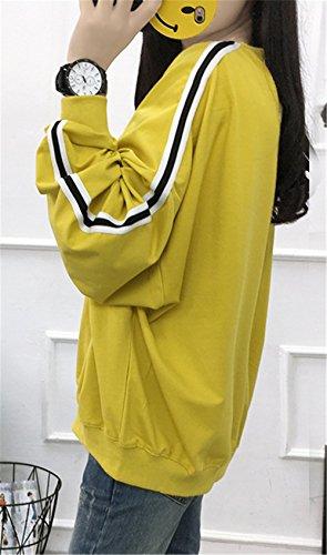 Manica Felpe DaBag Moda Crop A Lunga Del Bianco Autunno Giallo Maglie Stampato Strisce Modello Due Top Caffè Donna qqwCUvgI