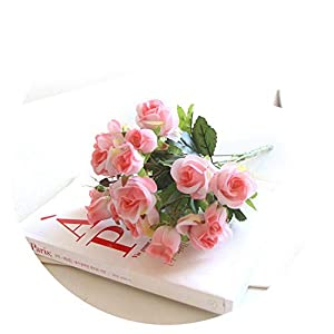 1 Bunch Artificial Rose Flowers Silk Flower Bride Bouquets Fake Roses for Wedding Home Garden Decoration,Pink 70