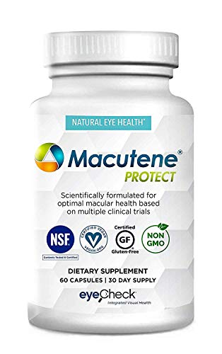 Macular Support Supplement & Natural Eye Health Vitamin, Formula Based On AREDS 2 Clinical Trials with Carotenoids (Lutein and Zeaxanthin) Bilberry Quercetin EGCG - Macutene® Protect (60 Capsules)