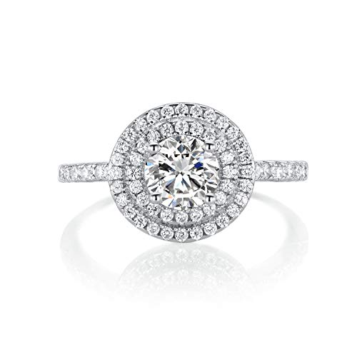 OPALBEST White Gold Plated Halo Cubic Zirconia Engagement Ring for Women Girls (6)