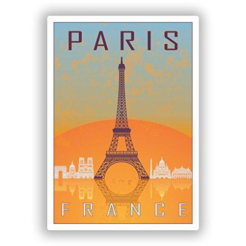 2 x 10cm/100mm Paris France Vinyl Stickers Travel Luggage #7967 (Luggage France)