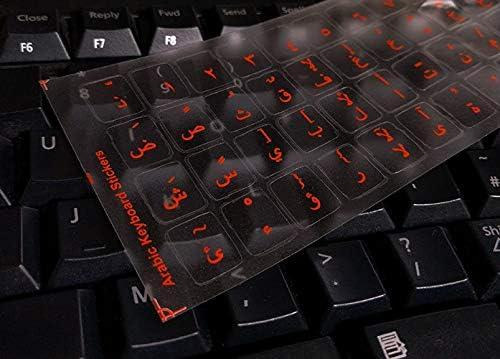 Pegatinas teclado árabe para PC, ordenador portátil, teclados de ordenador (fondo transparente, letras rojas en claros Etiquetas)