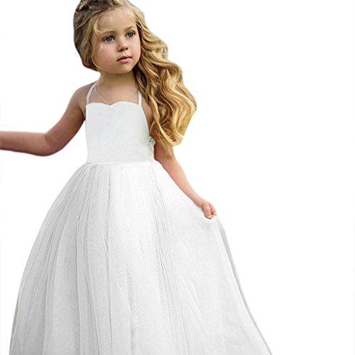 Toddler Baby Girls Tutu Dress Sleeveless Infant Toddler Sundress Tulle Bubble Layers (White, -