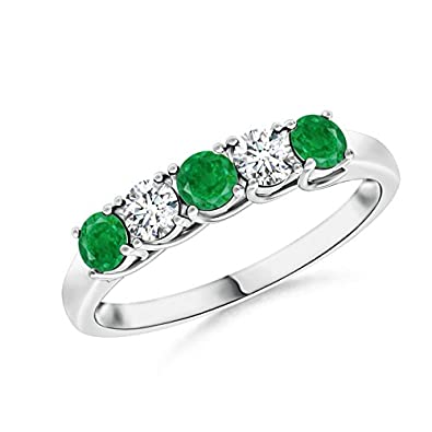 Angara Womens Square Emerald and Diamond Semi Eternity Band in Platinum 9FVJGlpU