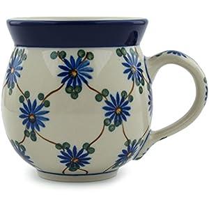Polish Pottery Coffee Mug Bubble 12 oz Aster Trellis