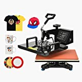 SUNCOO 15x15 6 in 1 Heat Press Machine Swing Away Digital Sublimation Heat Pressing Transfer Machine for T-Shirt/Mug/Hat Plate/Cap