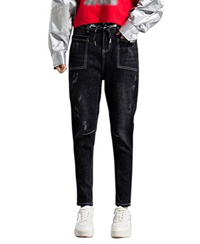 Femme Jean lastique Rtro Denim Pantalons Baggy Taille Haute Loose Bootcut Straight Stretch Jeans Boyfriend Pants Noir