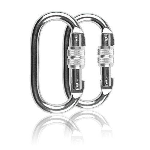 Steel Super Lock (Yoport 2 Pack Climbing Carabiner(25KN=5600 lb) Super Strength Steel Screw Lock Safty Carabiner Clip For Climbing Yoga Hiking Hammock)