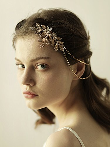 OUMOU Greek/Roman Gold Leaf Comb–Bridal Hair Chain Crystal Hairpiece Wedding Hair Accessories Romani Comb