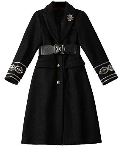 today-UK Women Lapel Long Sleeve Wool Blend Jacket With Belt Black