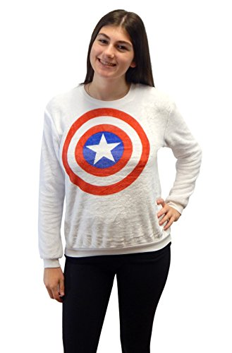 Officially Licensed Character Womens Junior Fit Pullover Woobie Minky Plush Crewneck Pullover Sweatshirt Sweater Top (Large, Captain America - White)