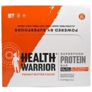 Health Warrior, Inc., Superfood Protein Bar, Peanut Butter Cacao, 12 Bars, 50 g Each(Pack of 3) by Health Warrior