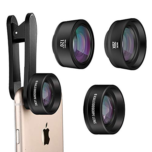ATFUNG iPhone Lens Kit, Wide Angle Lens, Kaleidoscope Lens Macro Lens Cell Phone Camera Clip Lens Attachment Kit for iPhone 6 7 Plus Samsung Android Smartphones (Kit Kaleidoscope Eye)