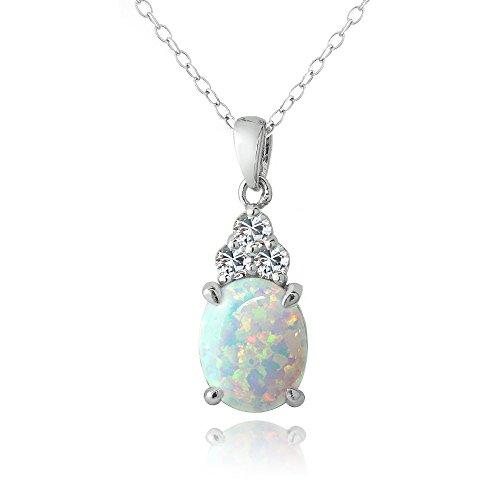 Argent sterling Créé Blanc opale et saphir blanc Collier ovale