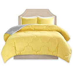 Comfort Spaces – Vixie Reversible Goose Down Alternative Comforter Mini Set - 3 Piece – Yellow and Grey – Stitched Geometrical Pattern – Full/Queen Size, Includes 1 Comforter, 2 Shams
