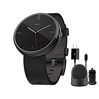 Motorola Moto 360 Timepiece Smart Watch - 1st Gen - Black Leather for Android Smart Phone - with Wall/Car Charger Dock (Renewed)