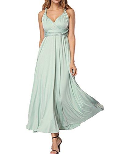 SELUXU Vestido de Las Mujeres de Alta Cintura Convertible Multi-Forma Abrigo Dama de Honor Formal Largo Vestidos Maxi Transformador/Infinito Vestido Verde Gris