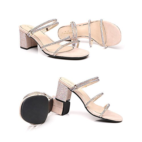 Sandals Amazing Summer Rhinestone Buckle Thick Woman With Mid Heel Female Shoes (Color : Black, Size : EU36/UK3.5/CN35) Nude Color