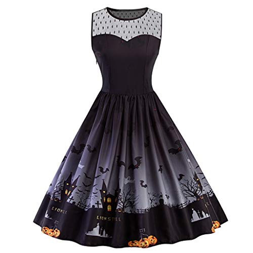 FEDULK Womens 50s Cocktail Dress Vintage Halloween Costume A-line Flared Party Prom Dress Plus Size XL-5XL(Black, ()