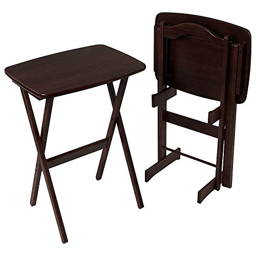 Manchester Wood Contour Folding TV Tray Table Set Of 2   .