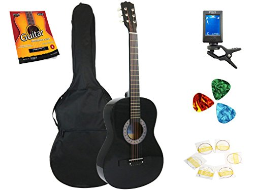 Star Acoustic Guitar 38 Inch with Bag, Tuner, Strings, Picks and Beginner's Guide, Black by Star