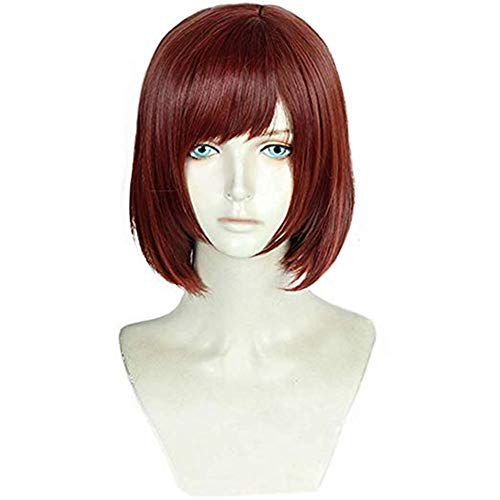 Xingwang Queen Anime Short Straight Red Brown Cosplay Wig Women Girls' Party Wigs for Christmas Halloween]()