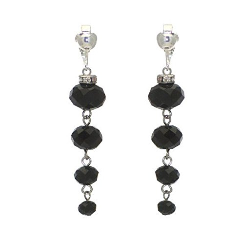 DAGNY silver tone Black Cascade Clip On Earrings