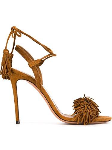 Oversize Signore Ubeauty Pizzo Stiletti Tacchi Alti Sandali Slingback Nappa Cinturino Alla Caviglia Scarpe Open Toe In Pelle Scamosciata Marrone