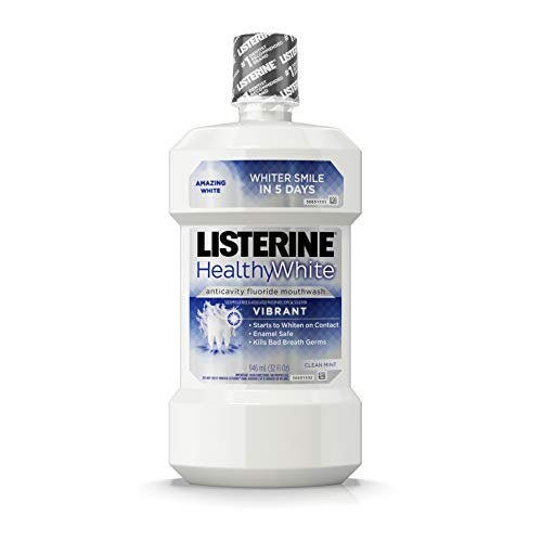 Listerine Healthy White Vibrant Multi-Action Fluoride Mouth Rinse, Foaming Anticavity Mouthwash For Whitening Teeth and Fighting Bad Breath, 32 fl. oz (Pack of 6)