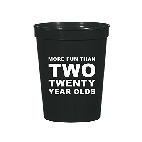 More Fun than Two Twenty Year Olds, 40th Birthday Party Stadium Cups, 40th Birthday Party Decorations, 40th Partyware, Funny 40th Decorations, Gag Gift