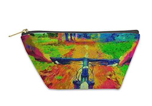 Gear New Accessory Zipper Pouch, Bicycle Ride Pov Acid Colors Psychedelic Painting, Large, ()