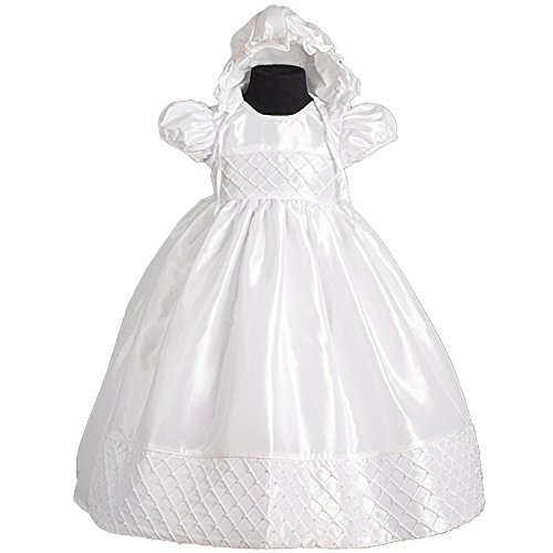 Dressy Daisy Baby Girls' Beaded Baptism Christening Dresses Gown With Bonnet Infant Size 0-1M White
