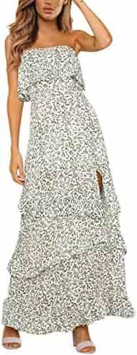 eefa475d9f Yidarton Women Summer Blue and White Porcelain Strapless Boho Maxi Long  Dress