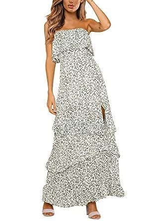 Yidarton Women Summer Blue and White Porcelain Strapless Boho Maxi Long Dress - - Small