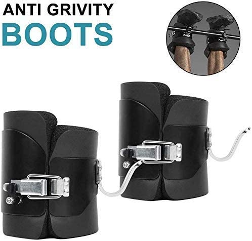 Inversion Gravity Boots, 1 Pair Anti Gravity Boots for Pull Up Bar, Comfortable Foam Padding Boots for Therapy Gym Fitness Physio, Safe Locking Clips, Black