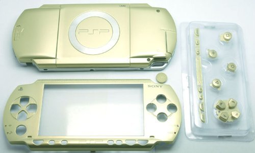 Gametown New Replacement Sony PSP 1000 Full Housing Shell Cover with Button Set -Gold.