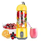 KONKA Portable Blender,Household Blender Juicer With USB Rechargeable,Personal Blender for Shakes and Smoothies,Double-Click to Start,High Borosilicate Glass Material, 420ml,Yellow (FDA BPA free)