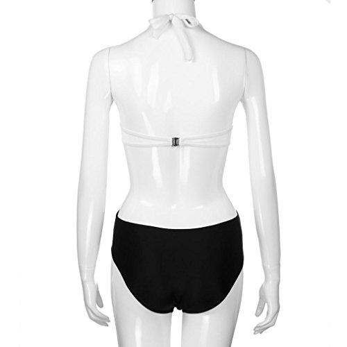Tankinis Transer® Damen Rückenfrei Neckholder Push-Up Badeanzug Schwarz Weiß Gepolsterte BH Zweiteilig Bademode