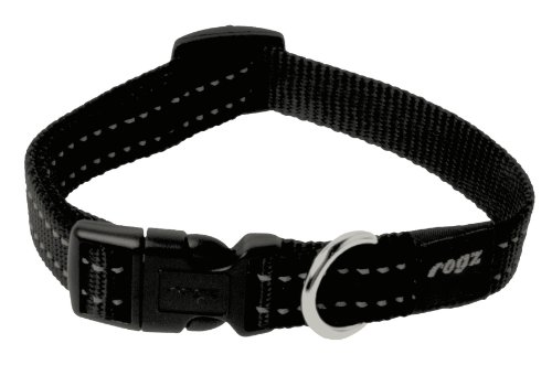 ROGZ Reflective Dog Collar for Medium Dogs, Adjustable from 12-17 inches, Black