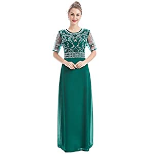 0639164248c Women Chiffon Beaded Embroidered Sequin Long Gowns Prom Evening Bridesmaid  Dress (L