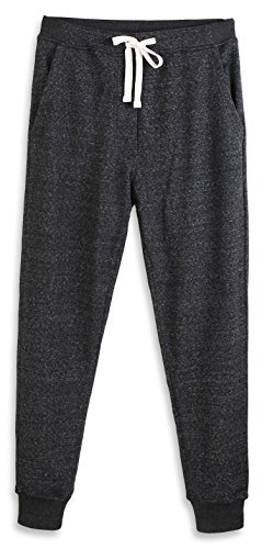 HARBETH Men's Casual Fleece Jogger Sweatpants Cotton Active Elastic Pocket Pants Black Melange M
