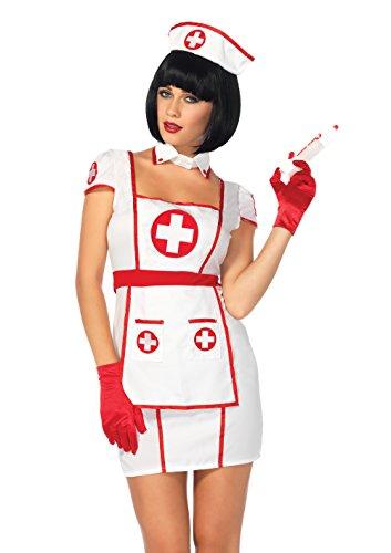Leg Avenue Women's 3PC.Hospital Heartbreaker, White/red, MED/LGE
